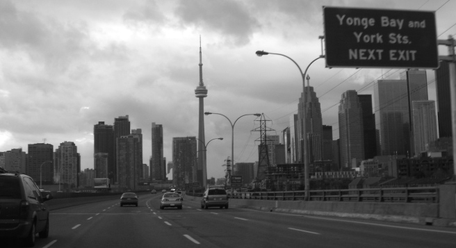 Highway with Toronto skyline